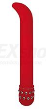 vibrátor stimulujúci bod G červený s kamienkami dĺžka 20 cm priemer 2,5 cm