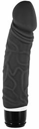 silikónový vibrátor čierny 20 cm 3,5 - 4,5 cm žilnatý realistický